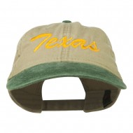 Texas State Embroidered Washed Pigment Dyed Cap - Green Khaki