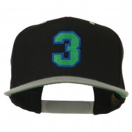 Athletic Number 3 Embroidered Classic Two Tone Cap - Black Grey
