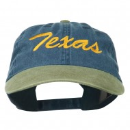 Texas State Embroidered Washed Pigment Dyed Cap - Khaki Navy