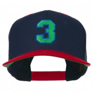 Athletic Number 3 Embroidered Classic Two Tone Cap - Navy Red
