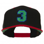 Athletic Number 3 Embroidered Classic Two Tone Cap - Black Red