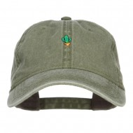 Mini Cactus Embroidered Washed Cap - Olive Green