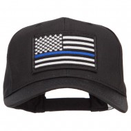 Thin Blue Line USA Flag Patched Twill Cap - Black