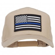Thin Blue Line USA Flag Patched Twill Cap - Khaki