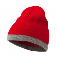 Two Tone Short Beanie - Red Lt Grey