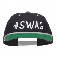 Swag Embroidered Two Tone Snapback - Black Silver