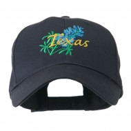 USA State Flower Texas Bluebonnet Embroidered Cap - Navy