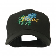 USA State Flower Texas Bluebonnet Embroidered Cap - Black