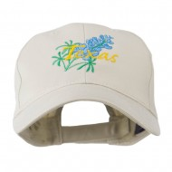 USA State Flower Texas Bluebonnet Embroidered Cap - Stone