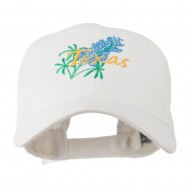 USA State Flower Texas Bluebonnet Embroidered Cap - White