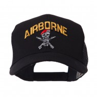 Military Related Text Embroidered Patched Mesh Cap - Air Borne