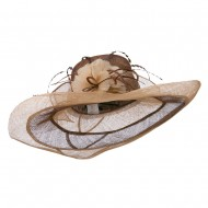 Two Tone Feather Flower Sinamay Hat - Brown