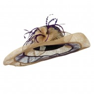 Two Tone Feather Flower Sinamay Hat - Purple