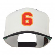 Athletic Number 6 Embroidered Classic Two Tone Cap - Natural Black