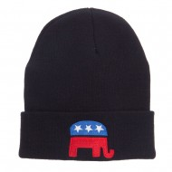 Republican Elephant Embroidered Cuff Beanie - Black