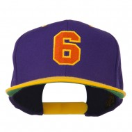 Athletic Number 6 Embroidered Classic Two Tone Cap - Purple Gold