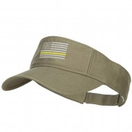 Thin Yellow Line American Flag Embroidered Visor - Olive