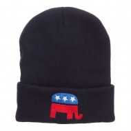 Republican Elephant Embroidered Cuff Beanie - Navy
