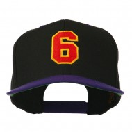 Athletic Number 6 Embroidered Classic Two Tone Cap - Royal Orange