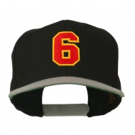 Athletic Number 6 Embroidered Classic Two Tone Cap - Black Grey