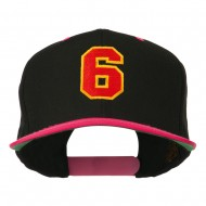 Athletic Number 6 Embroidered Classic Two Tone Cap - Black Pink