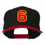 Athletic Number 6 Embroidered Classic Two Tone Cap - Black Red