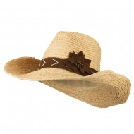 Raffia Suede Flower Cowboy Hat - Natural