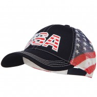 USA with Flag Cotton Twill Mesh Cap - Flag