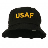 US Air Force Embroidered Pigment Dyed Bucket Hat - Black