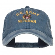 US Army Veteran Military Embroidered Washed Cap - Navy