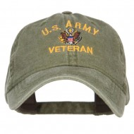 US Army Veteran Military Embroidered Washed Cap - Olive