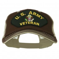 US Army Veteran Military Patched Big Size Washed Mesh Cap - Brown Beige