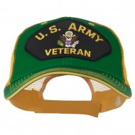 US Army Veteran Military Patched Big Size Washed Mesh Cap - Kelly Gold
