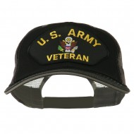 US Army Veteran Military Patched Big Size Washed Mesh Cap - Black Grey