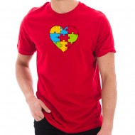 Autism Heart Puzzle Graphic Design Short Sleeve Cotton Jersey T-Shirt - Red