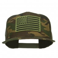 Subdued American Flag Patched Camo Snapback - Camo Olive