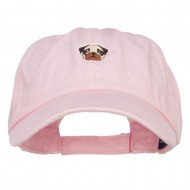 Pug Dog Face Embroidered Low Cap - Pink