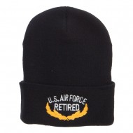 US Air Force Retired Emblem Embroidered Long Beanie - Black