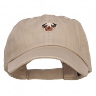 Pug Dog Face Embroidered Low Cap - Khaki