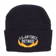 US Air Force Retired Emblem Embroidered Long Beanie - Navy