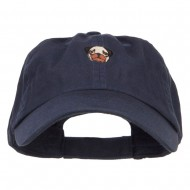 Pug Dog Face Embroidered Low Cap - Navy
