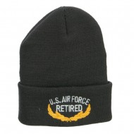 US Air Force Retired Emblem Embroidered Long Beanie - Dk Grey