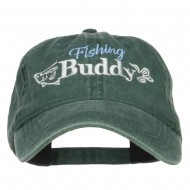 Fishing Buddy Embroidered Washed Cap - Dk Green