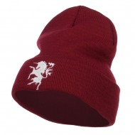 Unicorn Emblem Embroidered Long Beanie - Maroon