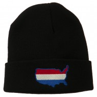 U.S. Map Embroidered Long Knit Beanie - Black
