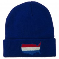 U.S. Map Embroidered Long Knit Beanie - Royal