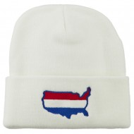U.S. Map Embroidered Long Knit Beanie - White