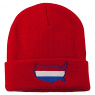 U.S. Map Embroidered Long Knit Beanie - Red