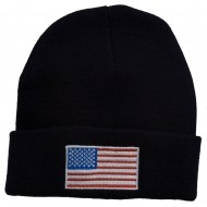 USA Flag Embroidered Long Knitted Beanie - Navy