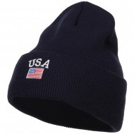 USA with Flag Embroidery Insulated Long Beanie - Navy